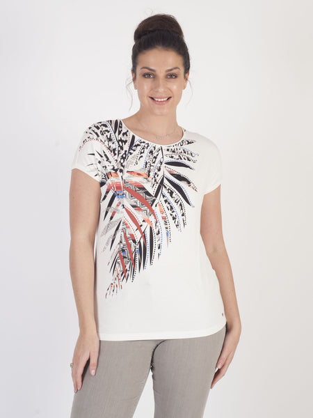 Gerry Weber Ivory Placement Print T-Shirt