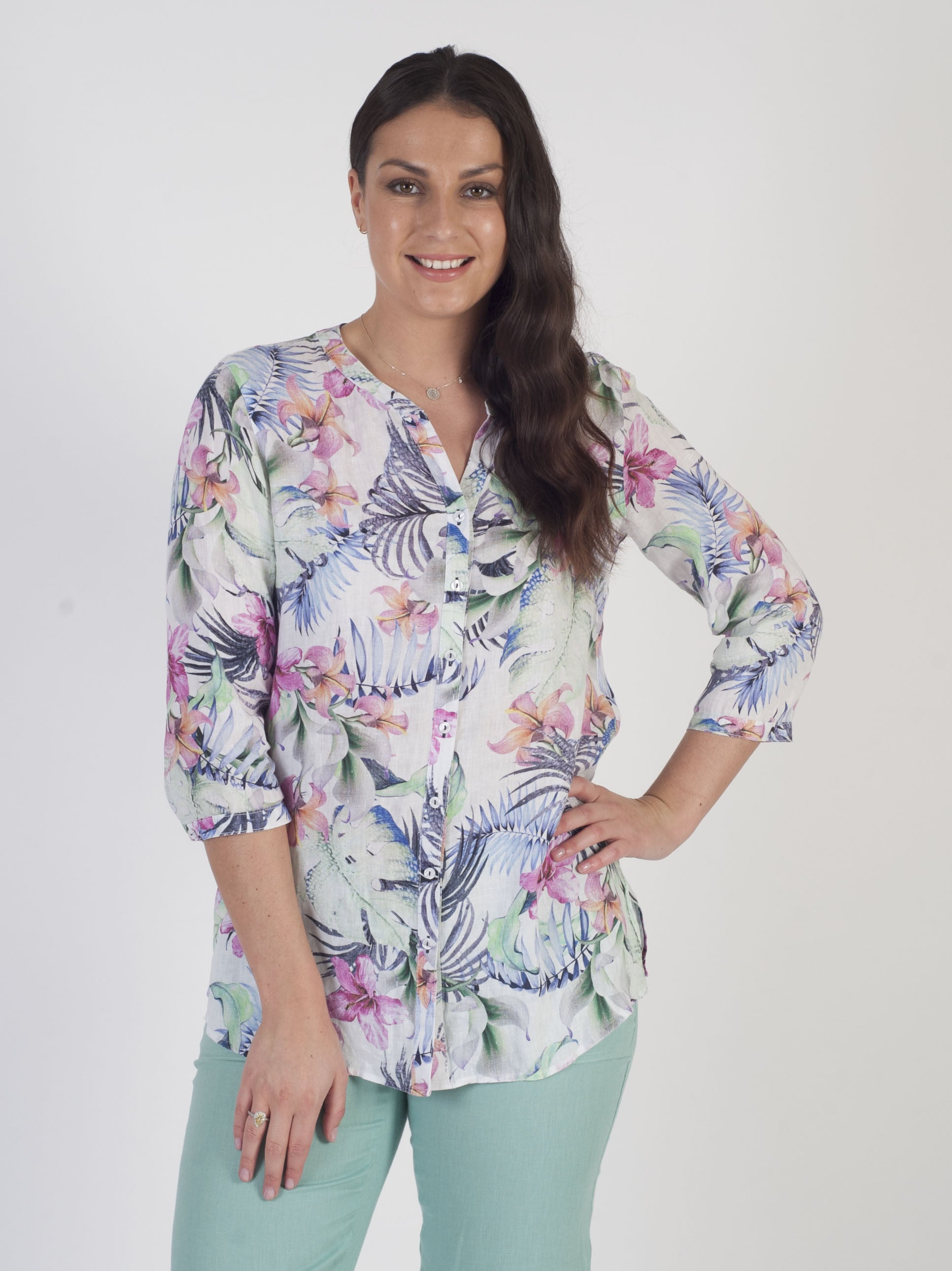 Gerry Weber Floral Printed Linen Blouse