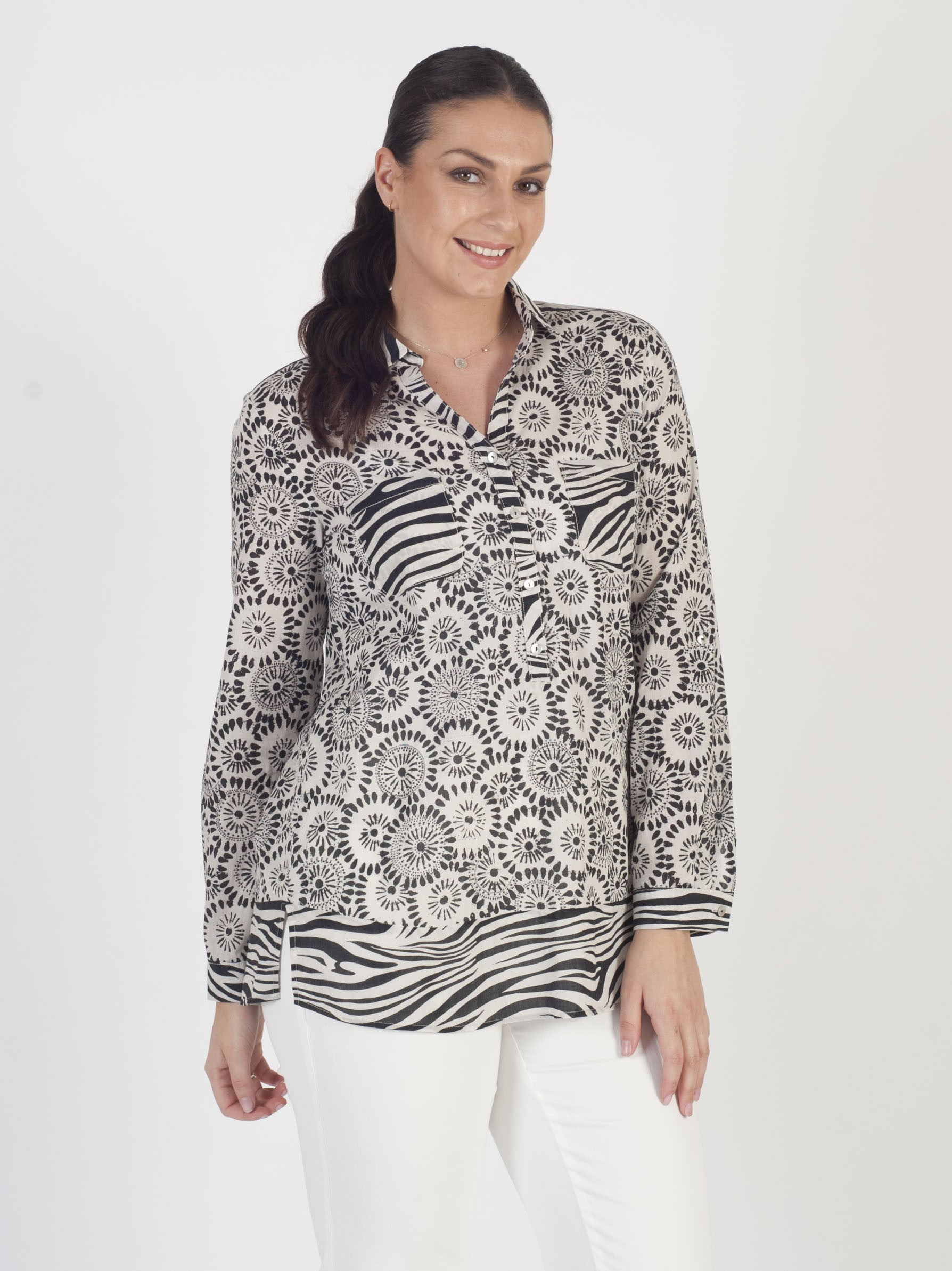 Gerry Weber Black And White Tribal Print Blouse