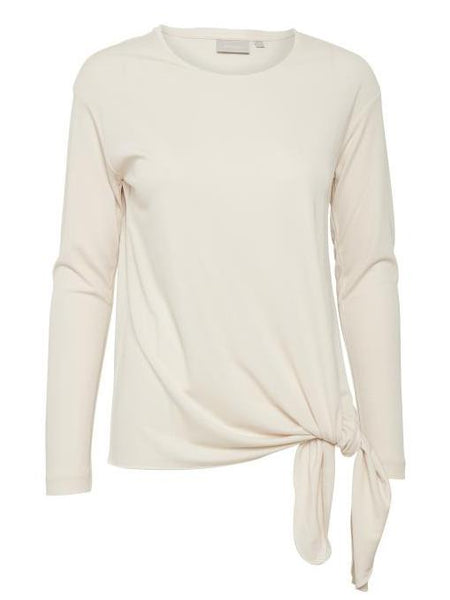 InWear Cream Long Sleeve Jersey top with Side Tie