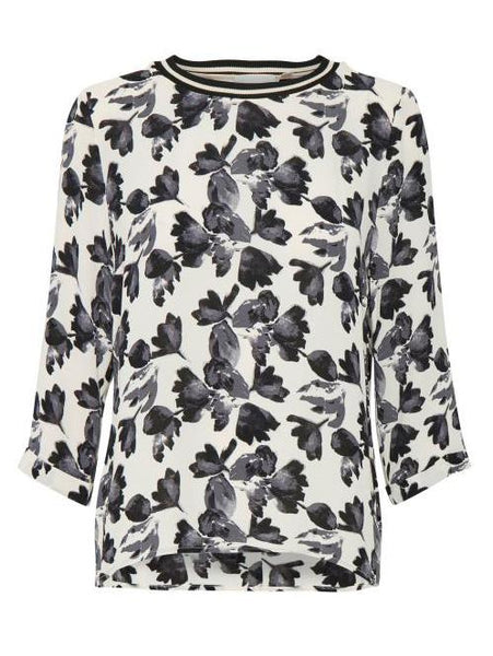 InWear Blush/Grey Leaf Print Top
