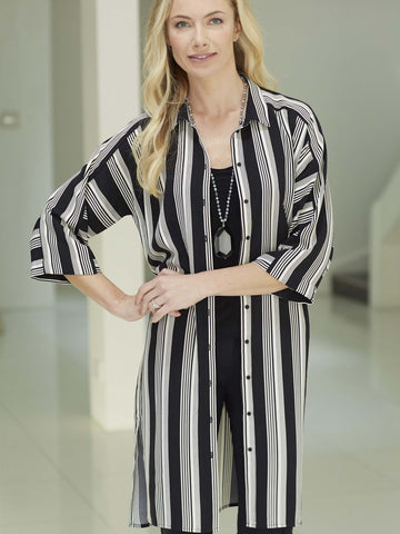 InWear Black/Cream Long Stripe Shirt Dress