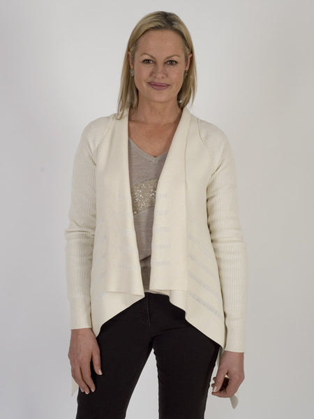 Isabel de Pedro Merino Blend Ivory Waterfall Cardigan