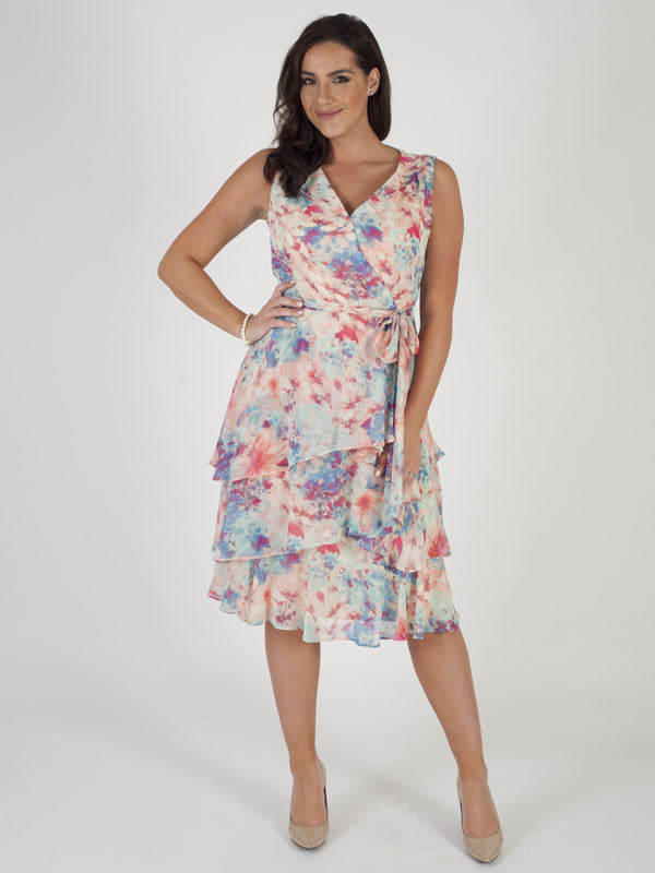 Tahari Aqua/Pink Multi Coloured Floral Printed Dress