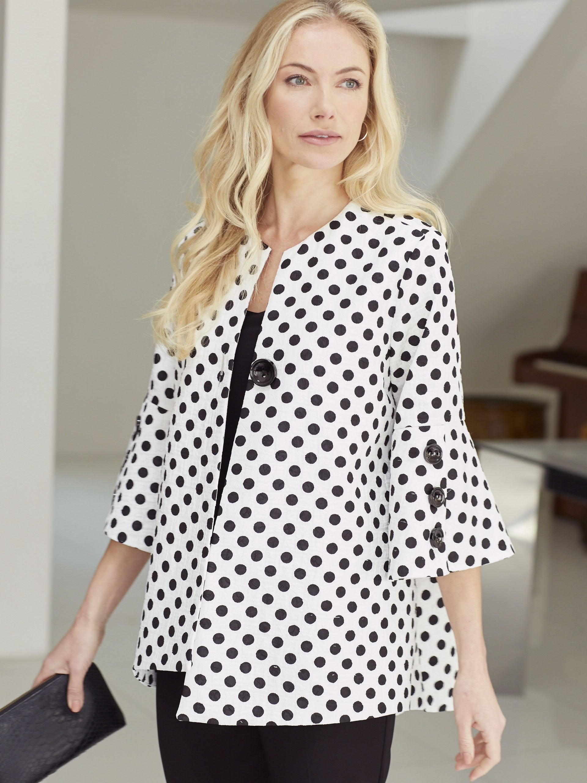 Joseph Ribkoff White/Black Spot Jacket