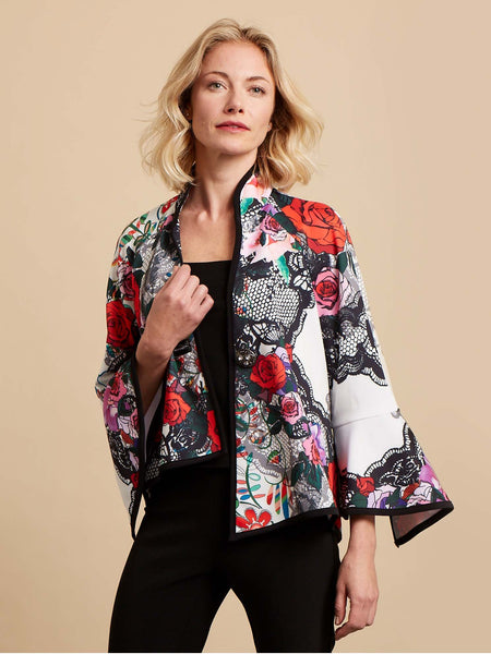 Joseph Ribkoff Lace And Rose Print Jacket