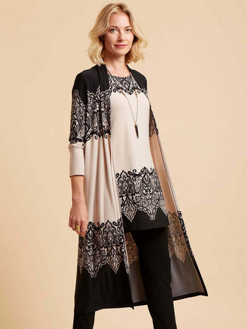 Joseph Ribkoff Longline Jacket And Tunic Border Print Twinset