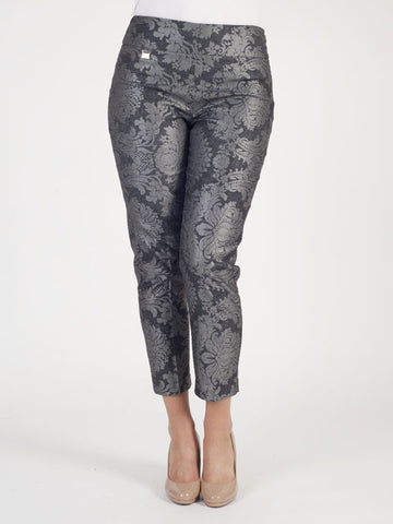 Joseph Ribkoff Silver Grey Floral Printed Trousers
