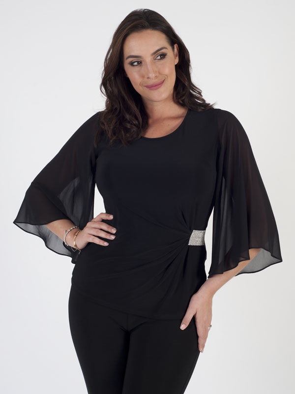 Joseph Ribkoff Black Open Sleeves Diamanté Top