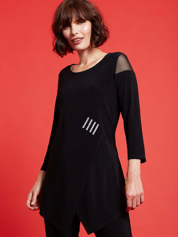 Joseph Ribkoff Black Tunic With Diamante Trim