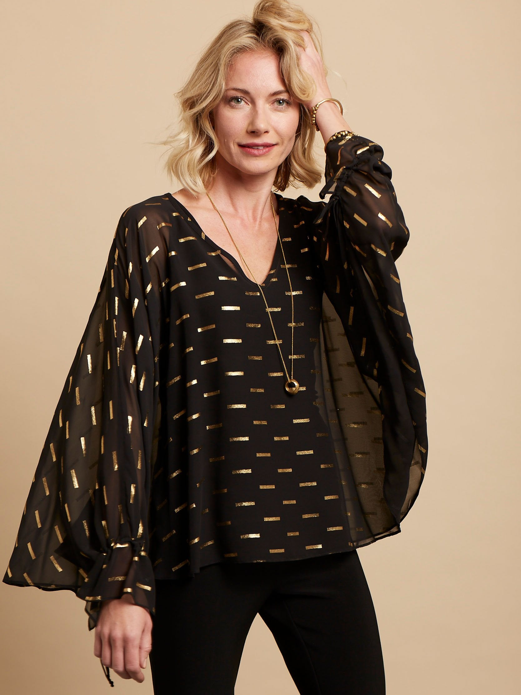 Joseph Ribkoff Black/Gold Top With Chiffon Overlay