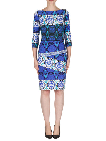 Joseph Ribkoff Blue Printed Long Sleeve Dress with Layered Skirt