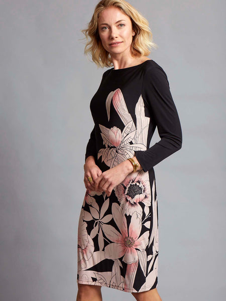 Joseph Ribkoff Blk/Pink Long Sleeve Jersey Dress With Pink Floral Print