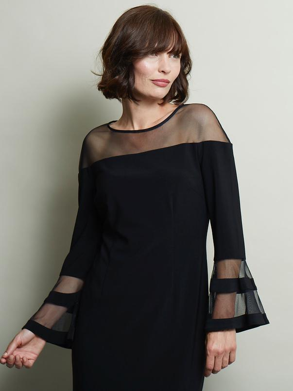 Joseph Ribkoff Black L/S Jersey Shift Dress