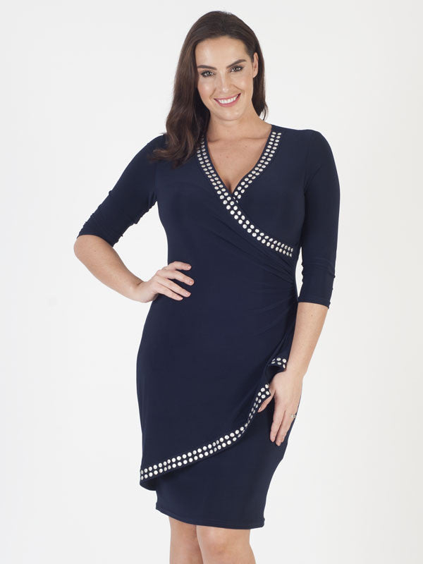 Joseph Ribkoff Navy Stud Dress