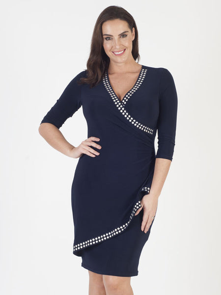 Joseph Ribkoff Navy Silver Detail Stud Dress