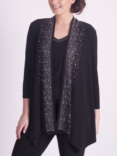 JOSEPH RIBKOFF Black Diamante Trim Cardigan