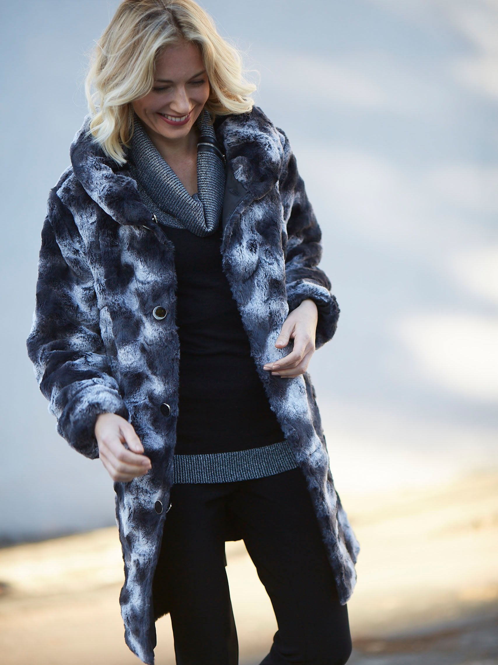 Black/Charcoal Faux Fur Lined Reversible Coat