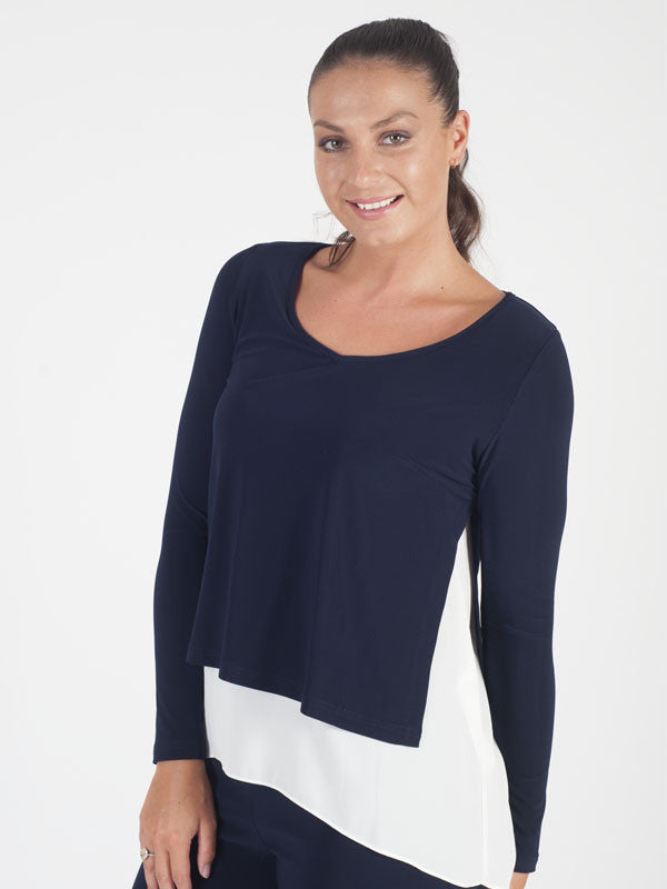 Joseph Ribkoff Navy And Ivory Layered Top