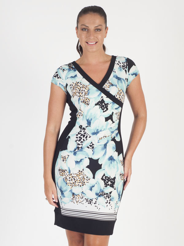Joseph Ribkoff Black Floral Print Dress