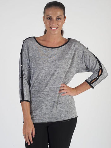 Joseph Ribkoff Grey Button Detail Jersey Top