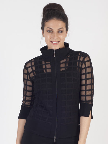 Joseph Ribkoff Black Sheer Jacket