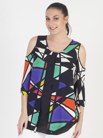 Joseph Ribkoff Abstract Layered Modern Top