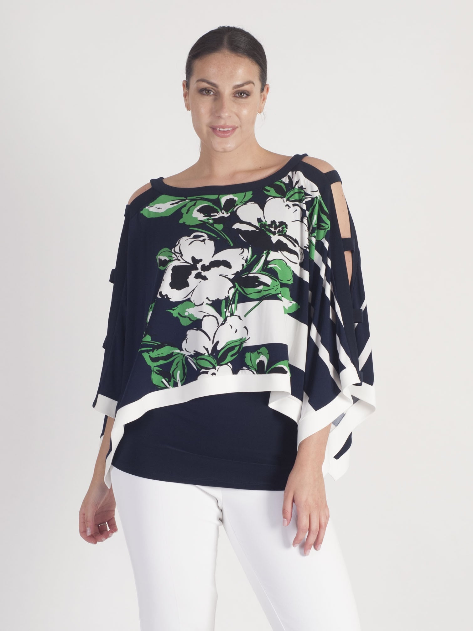 Joseph Ribkoff Multi Stripe and Floral Floating Top