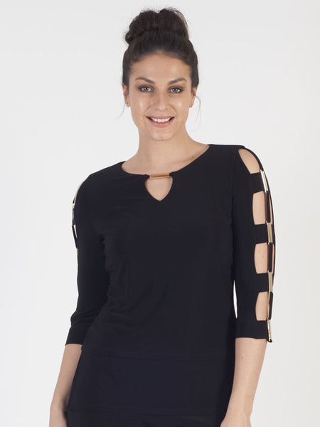 Joseph Ribkoff Black Layered Jersey Top