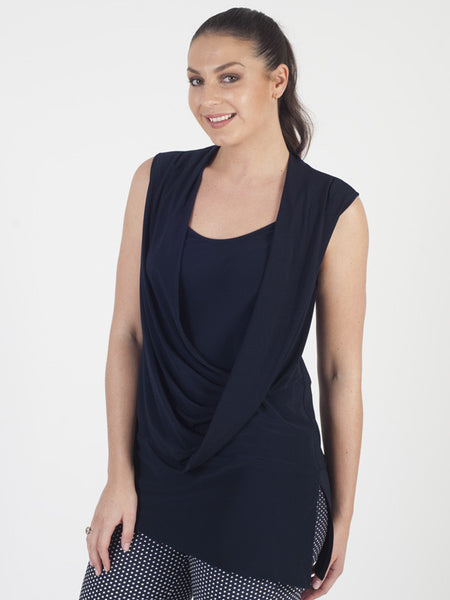 Joseph Ribkoff Navy Wrap Top