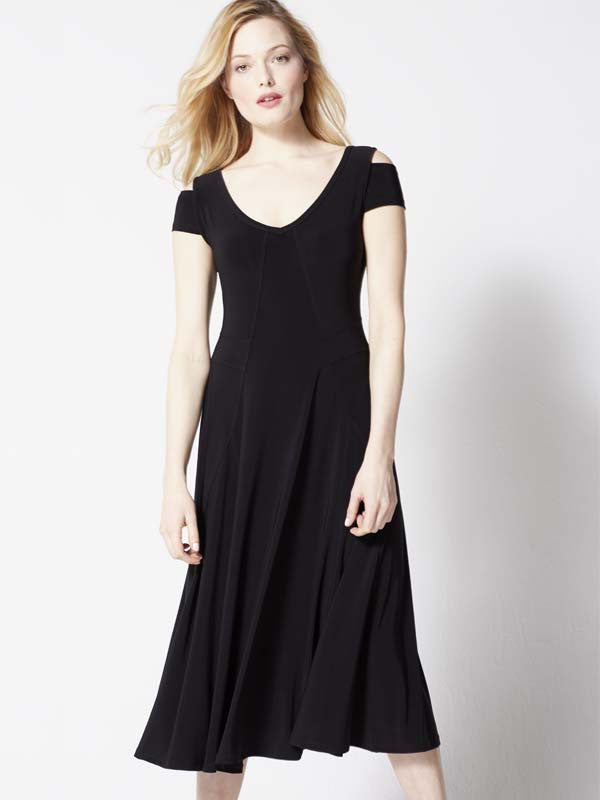 Joseph Ribkoff Black Fit And Flare Jersey Dress