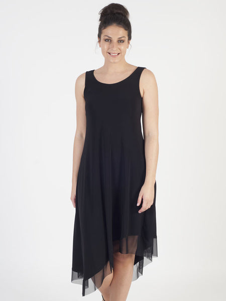 Joseph Ribkoff Black Asymmetric Jersey Dress