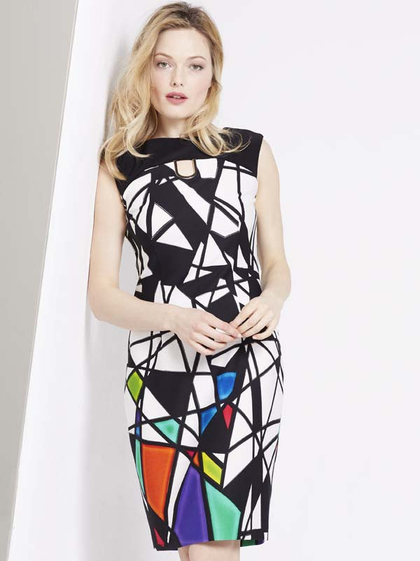Joseph Ribkoff Black And White Abstract Print Dress