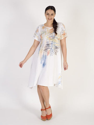 Ivory Abstract Printed Linen Dress