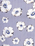 Just White White/Blue Stripe and Flower Shirt Dress