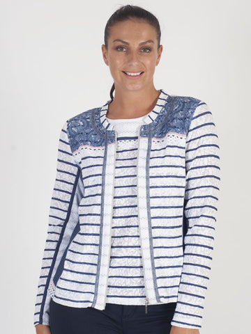 Just White Ivory Stripe Cardigan