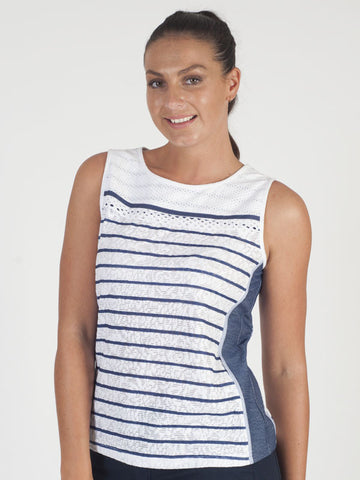Just White Ivory Stripe Sleeveless Top
