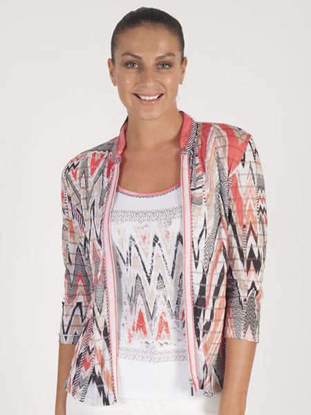 Just White Coral Jersey Print Cardigan