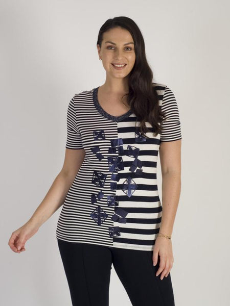 Ivory/Navy Stripe V-Neck T-Shirt