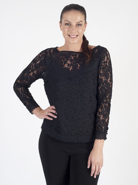 Leo & Ugo Black Lace Front and Back Jumper