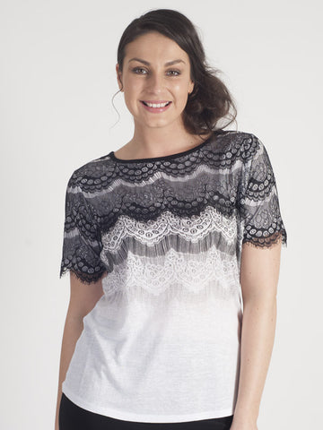 Leo & Ugo Ivory Knitted Lace T-Shirt