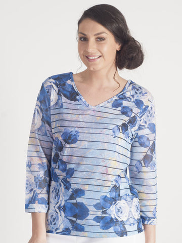 Leo & Ugo Blue Stripe Floral Print Top