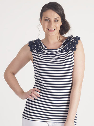 Leo & Ugo Ivory And Navy Stripe Sleeveless Top