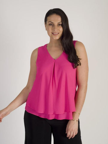 PINK DOUBLE LAYER CHIFFON TOP