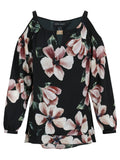 FRANK LYMAN Black/blush Floral Print Cold Shoulder Top