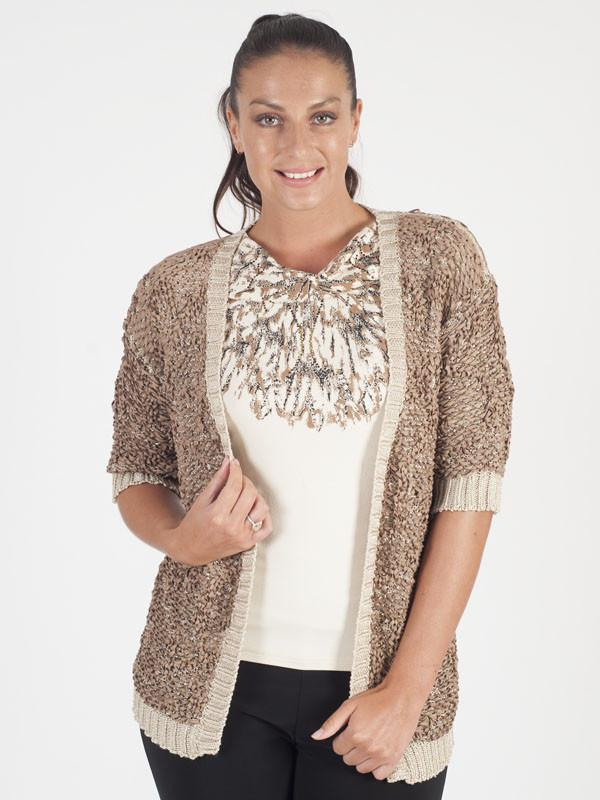 Chesca Direct Marie Mero Beige Faux Suede Knitted Cardigan