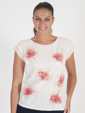 Marie Mero Ivory Sequin Floral Print T-Shirt