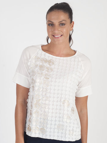Marie Mero Ivory Applique Top