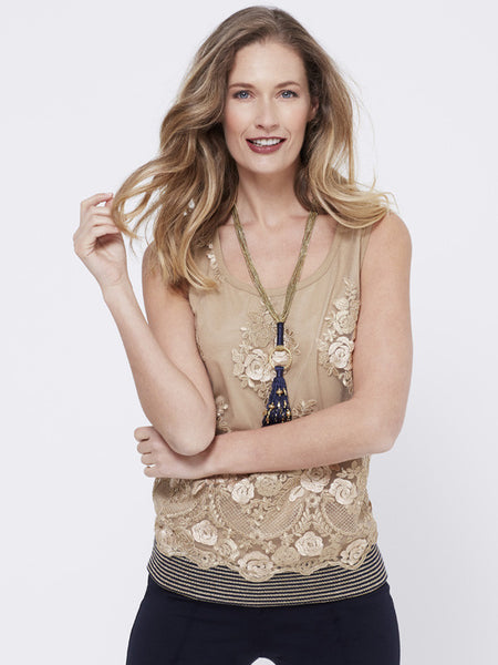 Marie Mero Embellished Sleeveless Top