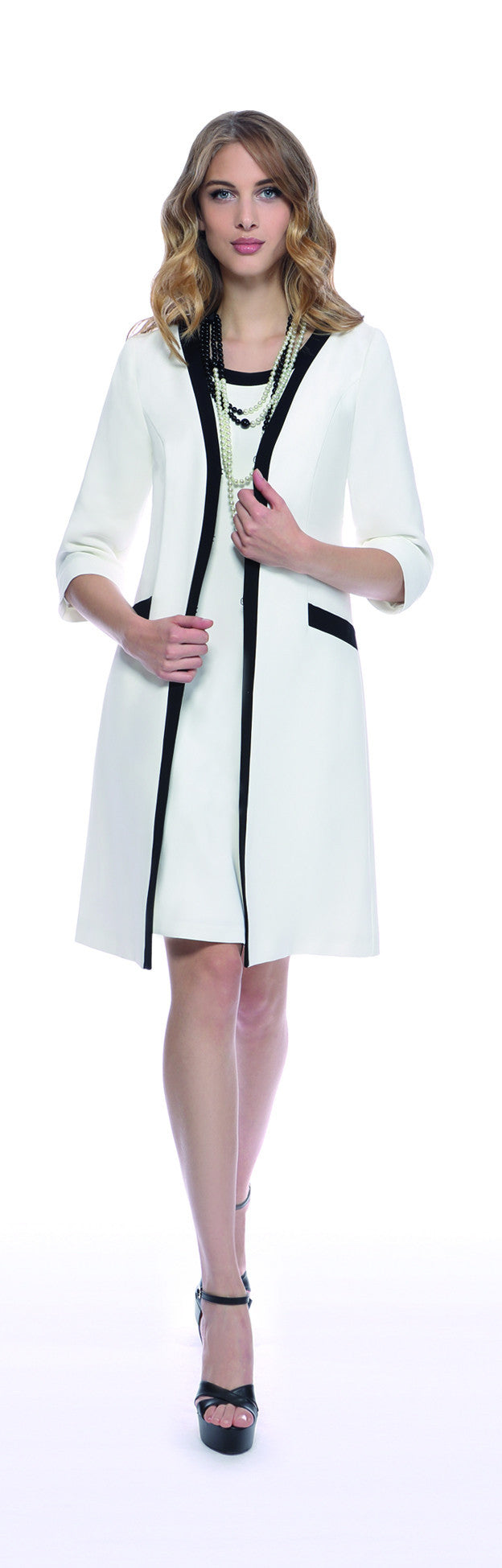 Michaela Louisa Ivory and Black Trimmed Coat